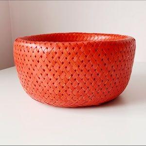 lightweight bright red sculptural woven bowl